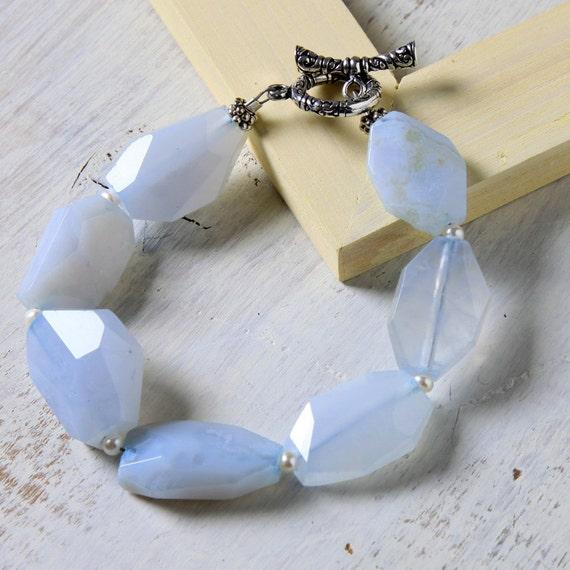 SALE Blue Chalcedony Bracelet Chunky Sterling Silver