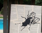 Painting of Black Fly on Vintage Book Pages - 11 inch Square FREE PIF AOK