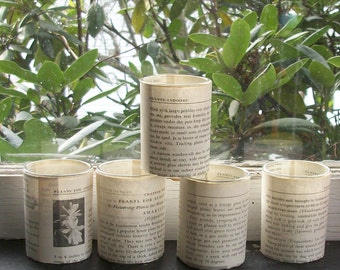 12 Votive Candle Holders - Vintage Book Pages  -  Wedding Party Favors