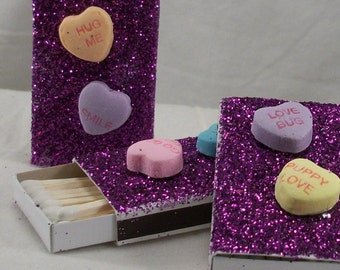 10 Purple Glitter Valentines Candy Heart Matchboxes with Incense