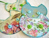 Monet Cat Gift Tags, garden gift tags, calico cat gift tags, cat face tags, aqua green pink cream floral