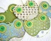 Frog Tags, Toad Tags, green frog tags, whimsical frog tags, spring green aqua blue cream polka dot floral