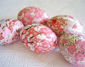 Easter Eggs Decoupage Pink Origami cherry blossom floral pastel white