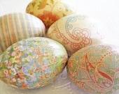 Easter Eggs Old World Creme Pastel Easter Eggs Peach Easter Eggs paisley decoupage sherbet aqua cream floral