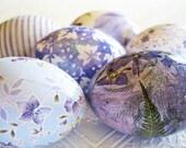 Periwinkle Blue Decoupage Glitter Easter Eggs lavender floral stripe fern leaves