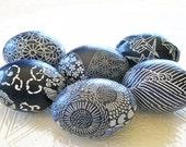 Indigo Blue Easter Eggs, Batik Easter Eggs, Origami Easter Eggs, decoupage eggs, white waves chrysanthemums floral