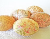 Easter Eggs Old World Honey Decoupage pastel peach cream coral honeycomb floral