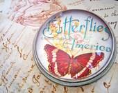 Glass Paperweight, round dome paperweight, butterfly paperweight, Butterflies of America, brown cream aqua blue, ephemera scan