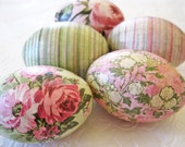 Easter Eggs Old World Pink Rose decoupage mint green cream floral romantic
