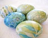 Easter Eggs Retro Mod aqua blue avocado green decoupage glitter floral stripe bubbles leaves