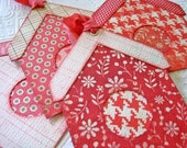 Red Birdhouse Tags, Birdhouse Tags, Bird House Gift Tags, Red and Pink Tags, Red and Cream tags, floral stripe houndstooth plaid polka dots