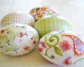 Pink and Green Easter Eggs decoupage glitter floral paisley stripe plaid cottage style