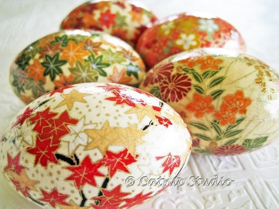 Coral Origami Decoupage Easter Eggs autumn maple leaves