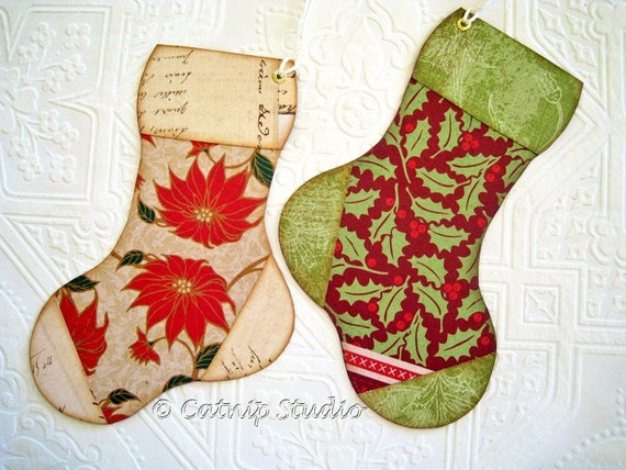 Christmas Stocking Gift Tags, Christmas Tags, Red and Green Tags, Traditional Christmas Tags, Holly Tags, Poinsettia Tags