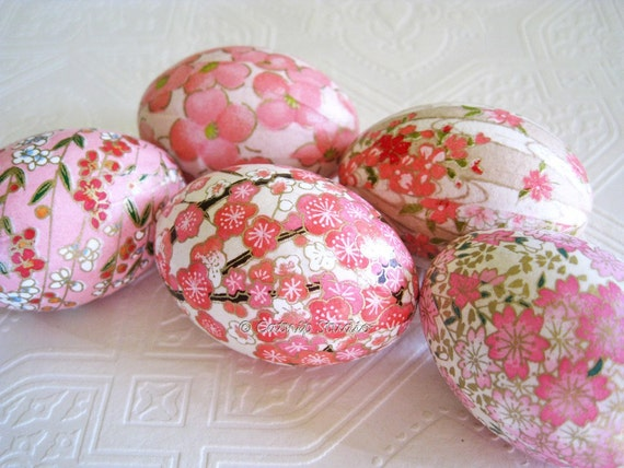 Easter Eggs Pink Easter Eggs Decoupage Eggs Origami Eggs cherry blossom floral pastel white