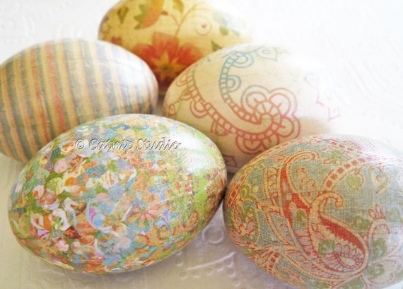 Easter Eggs Old World Creme Pastel Easter Eggs Peach Easter Eggs paisley decoupage sherbet aqua cream floral