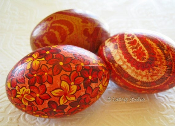 Red Easter Eggs, Old World Eggs, Dragon Fire Eggs, decoupage eggs, rust red orange paisley scroll floral