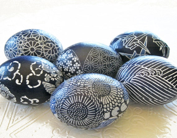 Indigo Blue Easter Eggs, Batik Easter Eggs, Origami Easter Eggs, decoupage eggs, white waves chrysanthemums floral