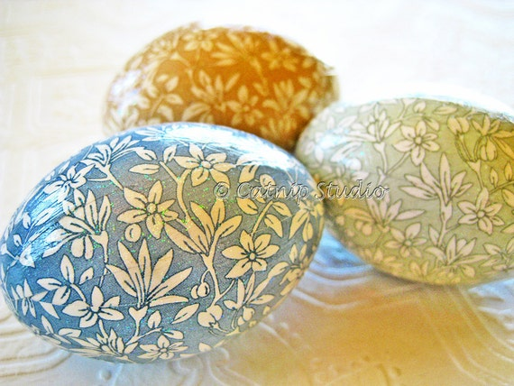Easter Eggs Calico Decoupage Glitter floral blue sage khaki cream