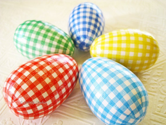 Gingham Easter Eggs, Easter Eggs, bright Easter eggs, glittered eggs, decoupage eggs, plaid check red aqua green yellow blue