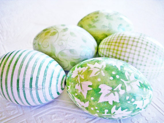 Mint Green Easter Eggs Pastel Easter Eggs decoupage glitter floral leaves gingham stripe plaid cottage style