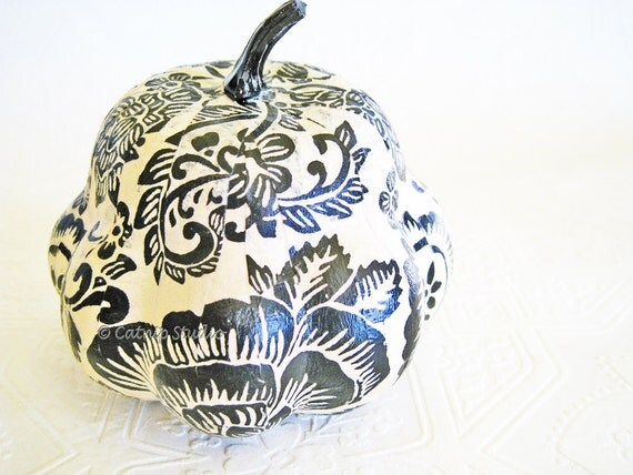 RESERVED FOR GINNY. Pumpkin Ornament Squash Ornament Halloween Ornament decoupage black and white paisley fall autumn thanksgiving