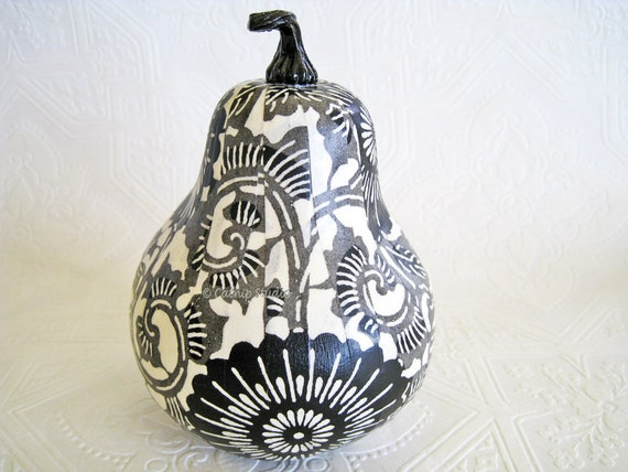 Squash Ornament, Halloween Ornament, decoupage ornament, black and white, scrolls mums fall autumn thanksgiving