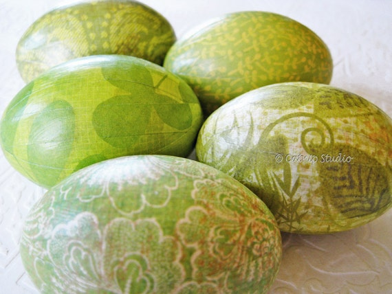 Spring Green Easter Eggs Green Easter Eggs Old World floral leaves cream and green