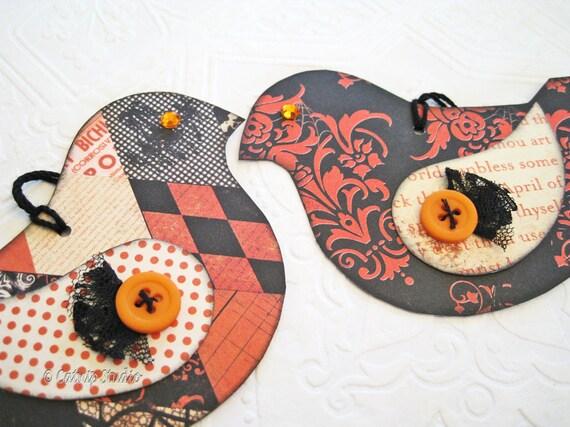 Bird Tags, Halloween Bird Tags, Paper Bird Tags, Orange and Black Tags, Crow Tags, button wing, rhinestone eyes