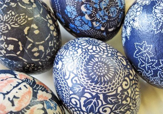 Blue Batik Origami Eggs