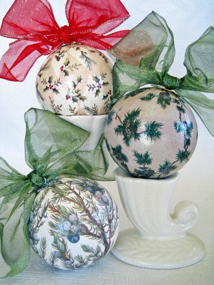 Winterwood Decoupage Christmas Ornament Set Sage Green Cream