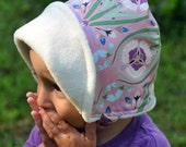 UB2  TICKLED PINK a frosty, french, art nouveau skiBonnet with warm, winter-white anti-pill fleece by The Urban Baby Bonnet ALL SIZES
