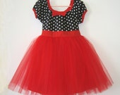 The TUTU PARTY  DRESS in retro black and white polka dot with RED tulle skirt for baby toddler or little girl CAN CUSTOMIZE .... fun birthday party dress portrait flower girl  or special occasion from Lover Dovers Clothing