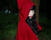 Little Red Riding Hood CAPE womens storybook cape with black ric rac trim to accent your Red Riding Hood costume or dress