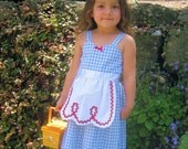 DOROTHY  blue gingham APRON DRESS girls Wizard of Oz costume