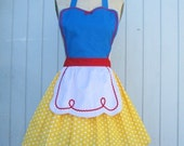 SNOW WHITE inspired retro APRON womens full apron Halloween costume