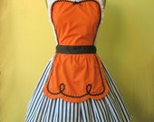 retro ORANGE and BLACK full apron 50s DINER WAITRESS ......  ice cream parlor with fifties details make a sexy hostess or bridal shower gift and is vintage inspired womens flirty Halloween aprons