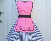 retro apron 50s DINER WAITRESS ......  ice cream parlor pink sexy hostess bridal shower gift  vintage inspired womens flirty full aprons