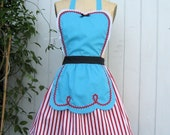 Retro apron FIFTIES Diner Waitress ...... RETRO turquoise red APRON 50s ice cream parlor fifties sexy hostess shower gift vintage inspired