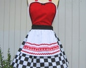 retro apron QUEEN of HEARTS  .... Retro apron sexy hostess bridal shower gift and is vintage inspired womens flirty costume full aprons