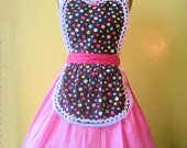 CUPCAKE Multi DOT ...... Retro Brown and pink APRON make a sexy hostess gift and is vintage inspired flirty womens full apron