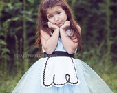 ALICE IN WONDERLAND dress Apron tutu dress for girls fun for special occasion or tea party handmade costume