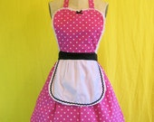 Retro apron  HOT PINK  polka dot retro apron hostess gift womens full apron