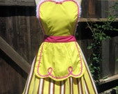 retro apron 50s Diner Waitress yellow with brown womens full apron ice cream parlor sexy hostess bridal shower gift vintage inspired
