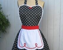 RETRO APRON  Lucy ... retro red black polka dot womens full apron flirty hostess gift vintage inspired flirty