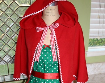 Story Book Red cape  for women with gingham tie for dress up