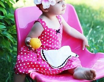 SALE Polka dot dress, hot pink dress, Retro dress, girls dress, kids Polka DOT  dress, Rockabilly girls clothes girls 50s 6/12m , SALE