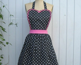 Womens apron Retro full APRON  Black polka dot vintage style flirty aprons or hostess gift