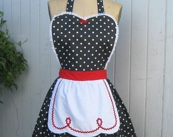 RETRO APRON  Lucy ... retro red black polka dot womens full apron flirty hostess gift vintage inspired flirty