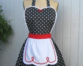 RETRO APRON  Lucy apron, retro apron, red black polka dot apron,  womens full apron, flirty apron, hostess gift, vintage style apron